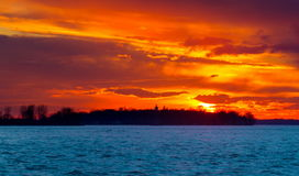 Sunset on the Lakeshore Dorval Quebec. stock images