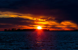 Sunset on the Lakeshore Dorval Quebec. stock photos