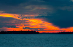 Sunset on the Lakeshore Dorval Quebec. stock photography