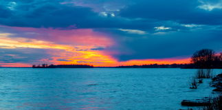 Sunset on the Lakeshore Dorval Quebec. royalty free stock photos