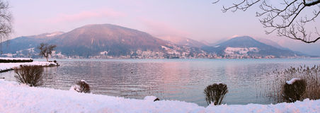 Sunset at lakeshore tegernsee, bavarian alps Stock Photography