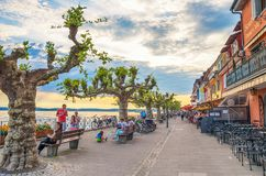 View of seaside alley in Meersburg, Constance lake Royalty Free Stock Images