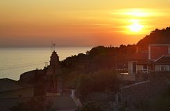 Sunset in Lakones. Corfu  island. Greece Stock Photography