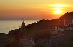 Sunset in Lakones. Corfu  island. Greece Stock Photography