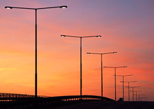 Sunset Lampposts Stock Image