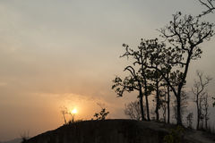 Sunset in Lan Kang Pai canyon. Pai, Thailand. Lan Kang sunset in Pai canyon with mountain and tree silhouette. Pai, Thailand Stock Photo