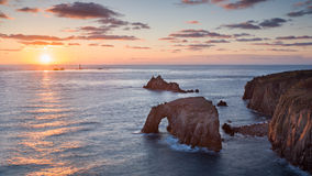 Sunset at Land End Cornwall England Stock Photos