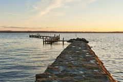 Sunset at the Landing Stage Stock Photography