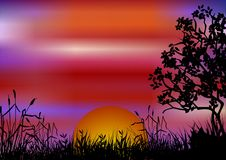 Sunset Landscape. With tree and grass. Available as vector too Royalty Free Stock Images