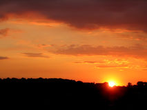Sunset landscape. Sunset of landscape in yellow hot colors royalty free stock images
