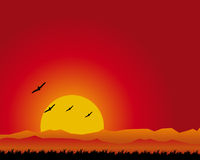 Sunset landscape. Illustration of a sunset landscape whit birds silhouette.EPS file available royalty free illustration