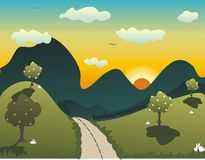 Sunset landscape. Cartoon, graphic landscape on a spring afternoon Royalty Free Stock Photography