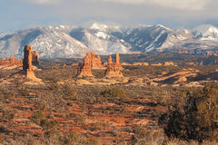 Sunset Landscape. Petrified sand dunes with the La Sal Mountains in the background in Arches National Park near Moab, Utah Stock Images