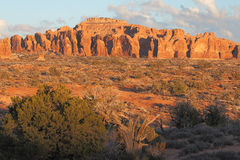 Sunset Landscape. Beautiful sunset light in the Devil's Garden section of Arches National Park near Moab, Utah Royalty Free Stock Photo