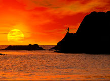Sunset landscape. With a fisherman silhouette stock illustration