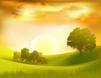 sunset  landscape background Royalty Free Stock Photo