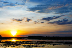 Sunset landscape with blue sky. Royalty Free Stock Images