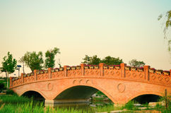 Sunset landscape with brick arch bridge. On the river,China Royalty Free Stock Image
