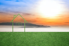 Sunset landscape with concept eco home background Royalty Free Stock Photography