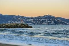 Sunset landscape in Empuriabrava - popular tourist destination in Spain stock photos