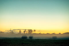 Sunset landscape field royalty free stock photos
