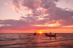 Sunset Landscape. Sunset and Fishing boat Landscape Chao Lao at Chantaburi in Thailand Stock Photography