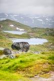 Hardangervidda mountain plateau in Norway. Sunset landscape in Hardangervidda, Europe highest mountainous plateau Royalty Free Stock Photography
