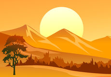 Sunset Landscape. Illustration of a sunset landscape with trees and mountains Royalty Free Stock Photography