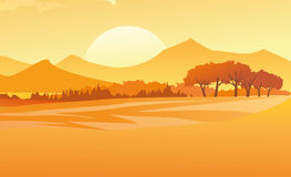 Sunset Landscape. Illustration of a sunset landscape with trees and mountains Stock Photography