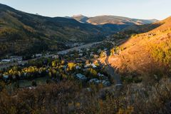 Sunset, landscape image of Vail Valley. stock photo