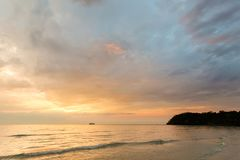 Sunset landscape on Koh Kood. Summer landscape on tropical koh Kood island in Thailand. Colorful sunset panorama taken on Klong Chao Royalty Free Stock Photography