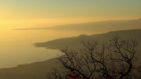 Sunset landscape from a lake Balaton of Hungary. In a beautiful winter day stock footage