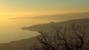 Sunset landscape from a lake Balaton of Hungary stock footage