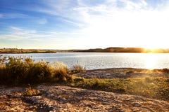 Sunset landscape and lake. Stock Photography