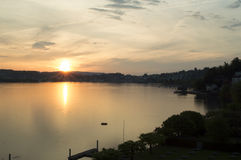 Sunset landscape of Luzern lake and the Luzern city in Switzerland Royalty Free Stock Photography