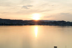 Sunset landscape of Luzern lake and the Luzern city in Switzerland Royalty Free Stock Photography