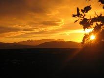 Sunset landscape of Montserrat. Beautiful, red sunset landscape of Montserrat during a cloudy afternoon Stock Photo