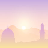Sunset landscape with mosques. Stock Images