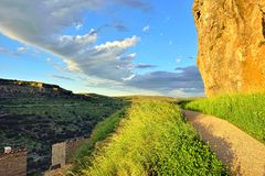 Sunset landscape with mountain view. Ares in Spain. Royalty Free Stock Photos