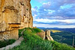 Sunset landscape with mountain view. Ares in Spain. Royalty Free Stock Photo