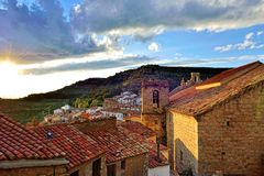 Sunset landscape mountain view of the old town Ares in Spain. Stock Image