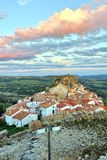 Sunset landscape mountain view of the old town Ares in Spain. Stock Photos