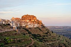 Sunset landscape mountain view of the old town Ares in Spain. Stock Images
