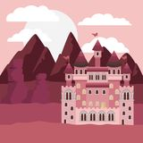 Sunset landscape with mountains and castle of fairy tales in colorful silhouette. Vector illustration Stock Image