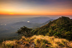 Sunset, landscape in mountains Stock Photos