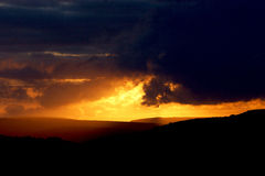 Sunset landscape. Norland, Halifax, Yorkshire, UK royalty free stock photo