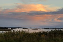 Landscape in Ora nature reserve in Fredrikstad, Norway. Sunset landscape in Ora nature reserve in Fredrikstad, Norway Royalty Free Stock Photography