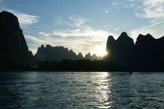 Sunset landscape of river Li, Guilin, China Stock Photo