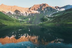 Sunset Landscape Rocky Mountains and mirror Lake reflection Summer Travel Royalty Free Stock Photos