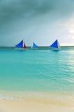 Sunset  landscape. Sailboat on coast of Boracay is Royalty Free Stock Photo